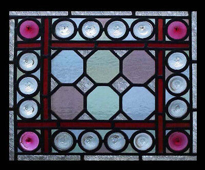Amazing English Victorian Antique Stained Glass Window with Large Rondels