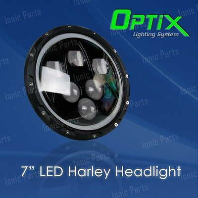 "Optix 1x 7"" 60W CREE LED Headlight High Low Beam DRL Harley Davidson Dyna Softai"