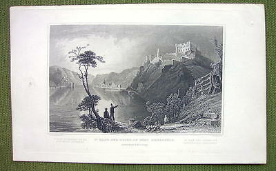 GERMANY St. Goar and Ruins of Fort Rheinfels - 1840s Antique Print Engraving