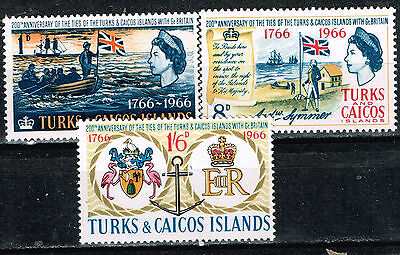 Turks and Caicos Islands History Ties with Britain Flag Arms stamps set 1970 MLH