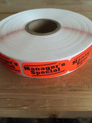 "1.25"" x .625"" MANAGERS SPECIAL MERCHANDISE LABELS 1000 PER ROLL FL RED STICKER"