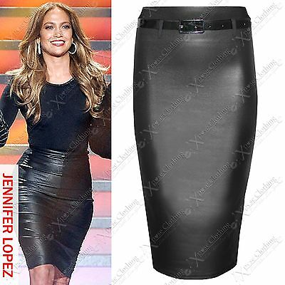Neu Damen Bodycon Lack-Optik Pu Stretchbund Bleistiftröcke Damen-Rock Lang