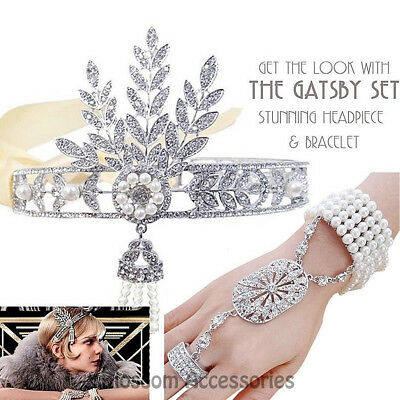 K136 Great Gatsby 20s Headpiece Bracelet Ring Flapper Crystals Costume Headband