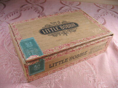 Vintage Wood Cigar Box Little Bobbie 1917 ? tax stamp factory 330 Pennsylvania