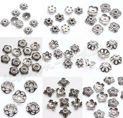 Wholsale 200pcs Tibet Silver Metal Spacer Bead Caps 5/6/7/8/9mm Jewelry Making