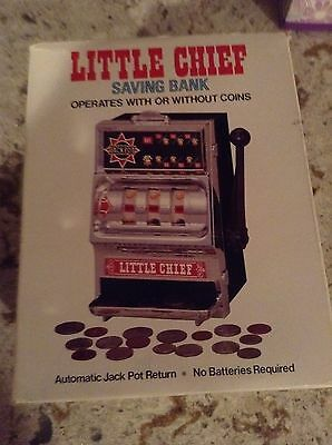One Arm Bandit  little Chief Slot Machine still Bank with Box Great toy