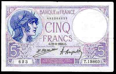France. Five Francs, 495068623, 23-9-1924, Nearly Very Fine.