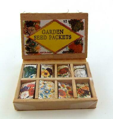 Dolls House Miniature Garden Shop Greenhouse Accessory Seed Packets Display Box
