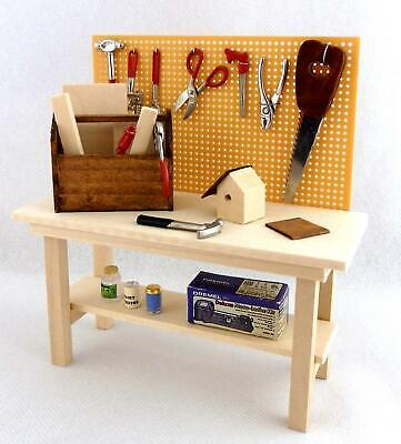 Dolls House Miniature Garden Shed Garage Accessory Full Workbench Tool Bench