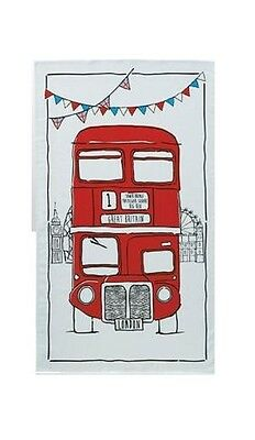 Sketchy London Bus Tea Towel Souvenir Gift Red Routemaster Cartoon Sketch White