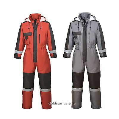 Portwest Winter Waterproof Coverall Boilersuit Pack Away Hood Work Outdoors S585