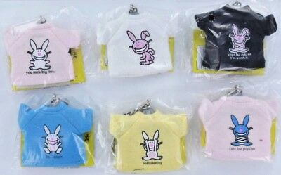 It's Happy Bunny T-Shirt Keychains Full Set All 6 Key rings Bunnies Jim Benton