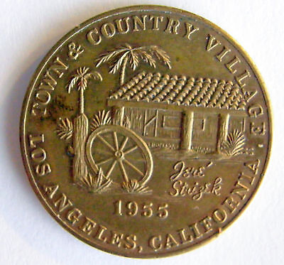 1955 Opening Town & Country Village Bronze Good Luck Medal Los Angeles Calif.