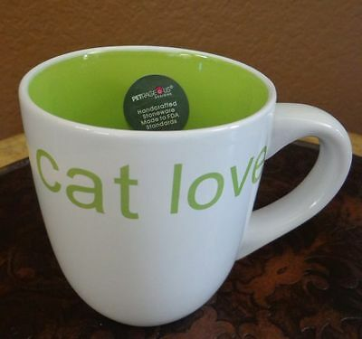Petrageous Cat lovers Hand Grafted Coffee Mug Cup White Stone Ware