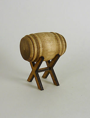 Dollhouse Miniature Artisan Wooden Barrel with stand