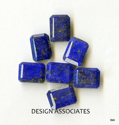 Lapis Faceted 10X 8 Mm Emerald Cut All Natural Gemstone