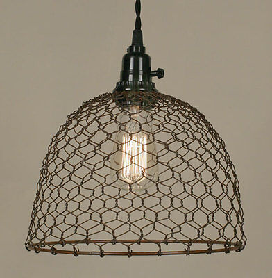 CHICKEN WIRE new Rusty tin Dome hang light / PLUG IN LIGHT
