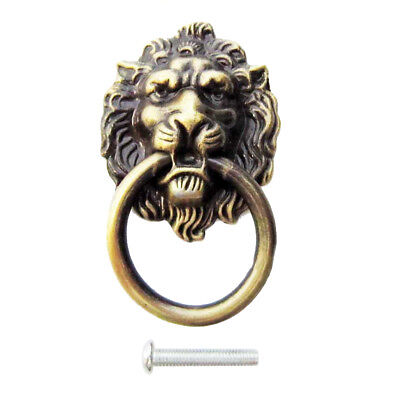Vintage Lion Head Pull Handle Door Cabinet Dresser Drawer Knob Antique Brass