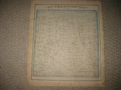 ANTIQUE 1874 CHAMPION LORDSTOWN TOWNSHIP TRUMBULL COUNTY OHIO HANDCOLOR MAP Rare