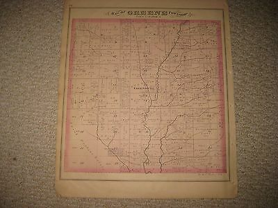 Antique Greene Fowler Township Greensburg Trumbull County Ohio Handcolred Map Nr