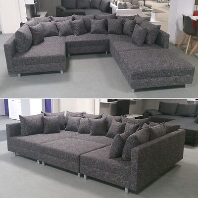 wohnlandschaft claudia xxl ecksofa couch sofa mit hocker schwarz und graubeige eur 599 95. Black Bedroom Furniture Sets. Home Design Ideas