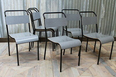 Retro Stacking Chairs Black And Grey Cafe Chairs Large Quantity Available