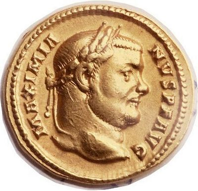 MAXIMIANUS 303AD Authentic Ancient Roman NGC Certified XF* GOLD Aureus Coin RARE
