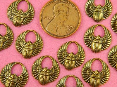 Tiny Antique Brass Winged Scarabs - 4 Pc