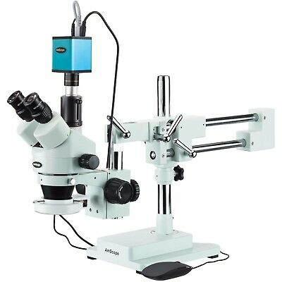 3.5X-90X Trinocular Stereo Microscope + 144-LED Ring Light and AF Camera