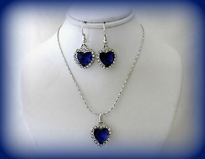 Mothers Day Gift Set For Her~Blue Crystal Heart Silver Necklace And Earrings