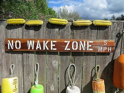 48 Inch Wood Hand Made No Wake Zone 5Mph Sign Nautical Seafood (#s634)