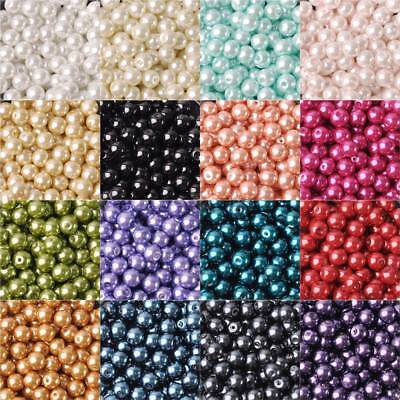 4/6/8/10/12mm  Round Czech Glass Pearl Loose Beads lot for Jewelry Making DIY