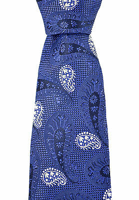 """New CANALI Italy Blue White Paisley Woven Handmade 3"""" Silk Neck Tie MSRP $295"""