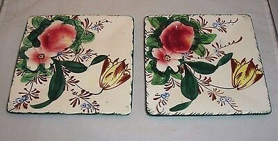 Vintage Italian Pottery Dessert Plates Embossed Floral Square (2) Italy
