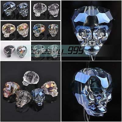 14X13mm Skull Head Faceted Crystal Glass Charms Loose Spacer Beads DIY Findings