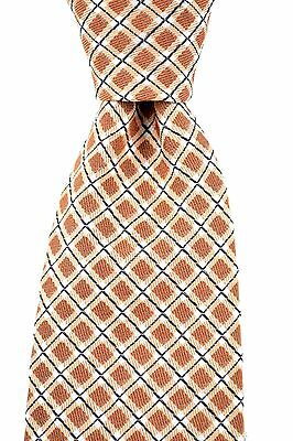 """New CANALI Italy Brown White Checked Woven 100% Silk 3.25"""" Neck Tie NWT $295"""