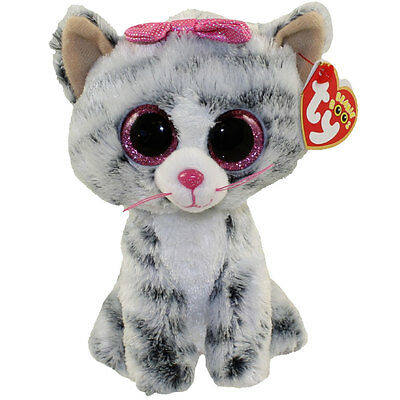 TY Beanie Boos - KIKI the Grey Tabby Cat (Glitter Eyes) (6 inch) - MWMTs