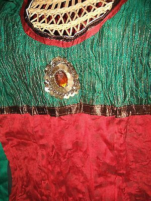Ladies Bollywood gr & red Jewel salwar kameez & Dupatta,Outfit  bust 36 Costume