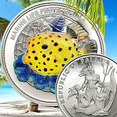 2014 Palau $5 - YELLOW BOXFISH Marine Life Protection Sterling Silver Fish Coin
