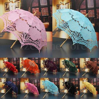 "26"" Lace Cotton Embroidery Wedding Umbrella Bridal Parasol Photo Props HOT"