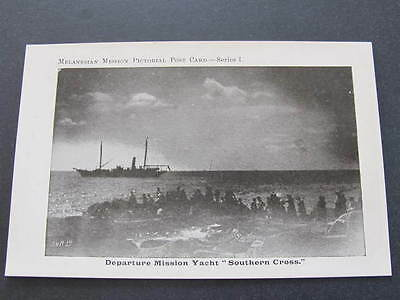 "Departure Mission Yacht ""Southern Cross"" Melanesian Mission Postcard"