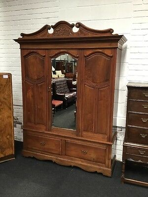 Large Victorian Wardrobe Armoire Very Impressive Mahogany And Walnut Triple Size