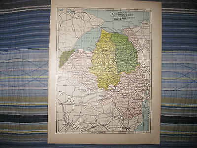 Antique 1900 Londonderry County Ireland Map Coleraine Derry Limavady Keenaght Nr