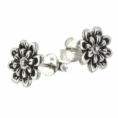 Sterling Silver Flower Design Stud Earrings Oxidized Detail - Post Style