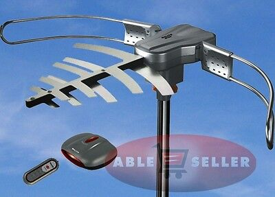 OUTDOOR TV ANTENNA MOTORIZED AMPLIFIED HDTV HIGH GAIN 36dB UHF VHF 150 MILES