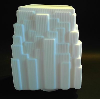 """Opal Frosted Finish Deco Skyscraper  Light Shade 3 5/8"""" fitter Hall Bar"""