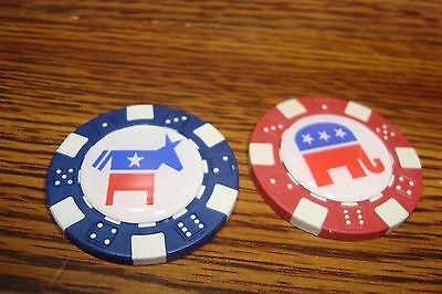 Republican Elephant + Democrat Donkey Poker Chip Golf Ball Marker - Card Guard