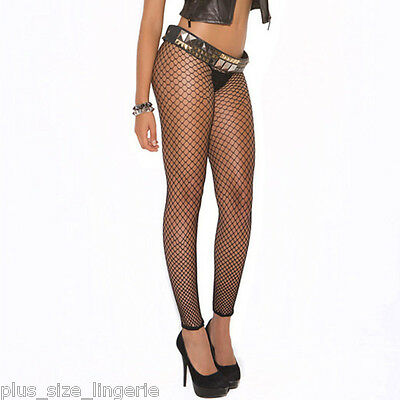 PLUS SIZE LINGERIE One Size Queen Black Diamond Net Leggings   EM1516Q