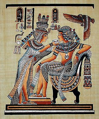 Egyptian Hand-painted Papyrus Artwork: King Tut & Wife Scene from Golden Shrine