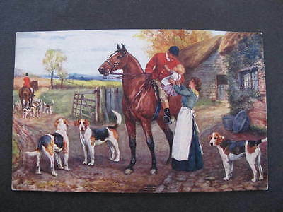 Tucks Postcard The Hunt Day Hounds Horses etc